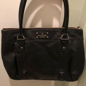 Kate Spade black leather tote bag 16x10x2